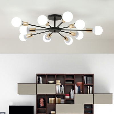 6/8/10 Lights Armed Ceiling Fixture with Bare Bulb Simple Modern Metal Semi Flush Ceiling Light in Soft Gold