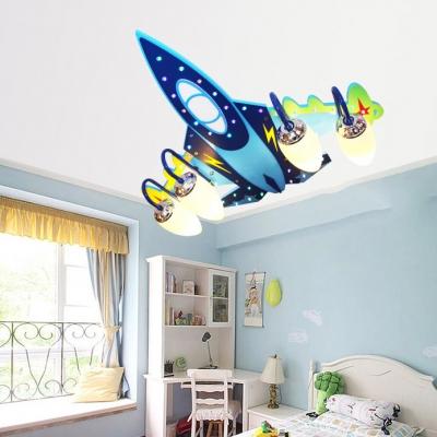Aircraft 4 Lights Semi Flush Light Dark Blue Wooden Ceiling Light for Baby Kids Room