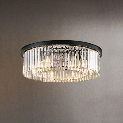 Black Round Ceiling Fixture Modern Chic Crystal Multi Light Flush Mount for Hallway Corridor