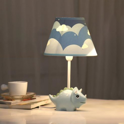 Blue Dinosaur Table Lamp Cartoon Fabric Shade Single Light Table Light for Study Room