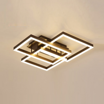 Brown Square Frame LED Ceiling Light Modern Chic Semi Flush Light with Acrylic Shade