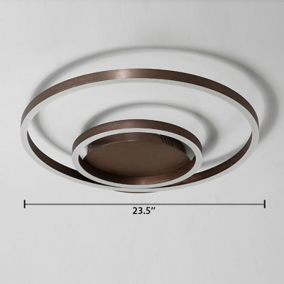Double Ring LED Ceiling Fixture with Acrylic Shade Modern Design Flush Mount in Coffee