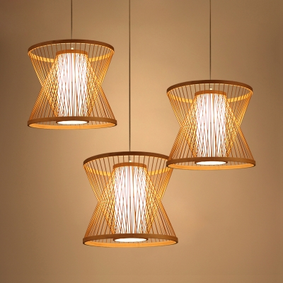 Hourglass Suspension Light Stylish Natural Weave Single Head Indoor Lighting Fixture in Wood
