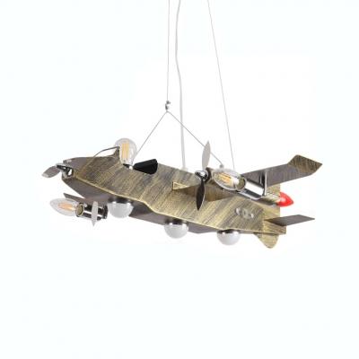 Metal Airplane Chandelier Lamp Boys Bedroom 8 Lights Hanging Lamp in Antique Brass