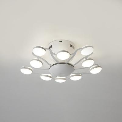 Metal Flared LED Flush Mount Nordic Style Multi Lights Ceiling Fixture in White for Restaurant