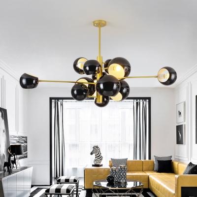 Metallic Ball Shade Hanging Lamp Post Modern Rotatable Multi Light Suspension Light in Gold