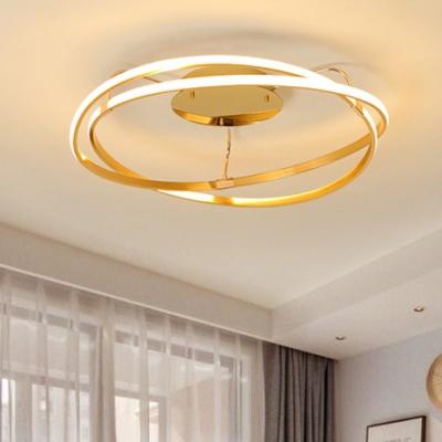Modern Chic Veloce Ceiling Light Aluminum LED Semi Flush Mount in Brass for Restaurant
