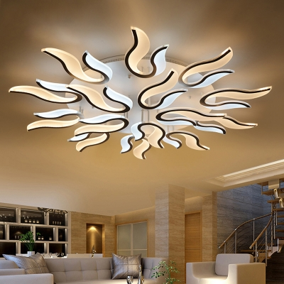Multi Light 2 Tiers Ceiling Lamp Modernism Acrylic Shade LED Semi Flush Mount for Restaurant
