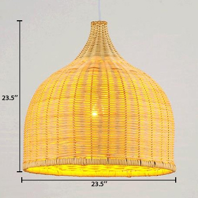 Rattan Bell Hanging Light Nordic Style 1 Light Hanging Lamp in Beige for Dining Room