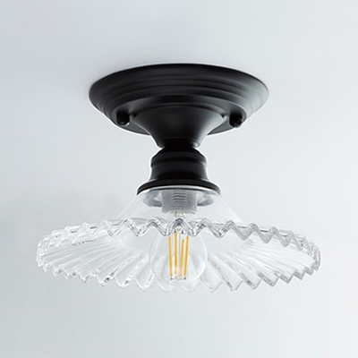 Scalloped Semi Flush Mount Light with Olive Green Glass Shade Retro Style Single Head Ceiling Fixture