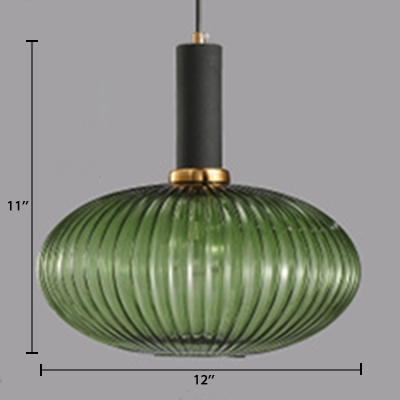 Single Head Flask Shape Pendant Lamp with Jade Green Ribbed Glass Modern Lighting Fixture