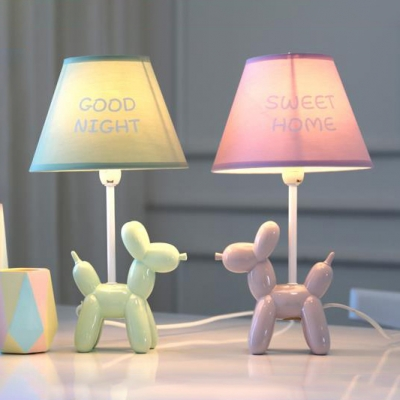 Surprising Tapered 1 Light Table Light With Cartoon Dog Base Blue Green Pink Download Free Architecture Designs Scobabritishbridgeorg