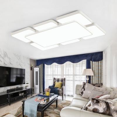 White Super-thin Ceiling Light Contemporary Eye Protection Metallic LED Flush Light Fixture