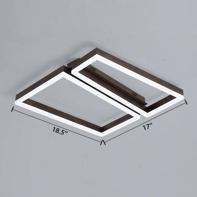 2 Trapezoid Frame Flush Light Nordic Burnished Aluminum LED Ceiling Flush Mount in Coffee
