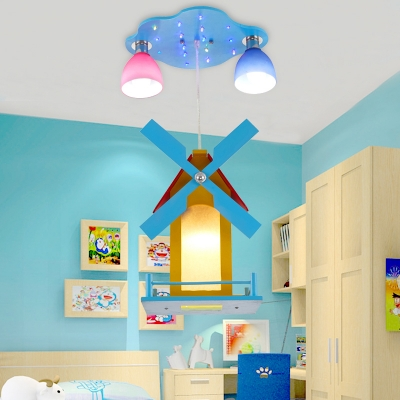 3 Lights Windmill Ceiling Lamp Hallway Kids Room Wooden Hanging Light in Chrome