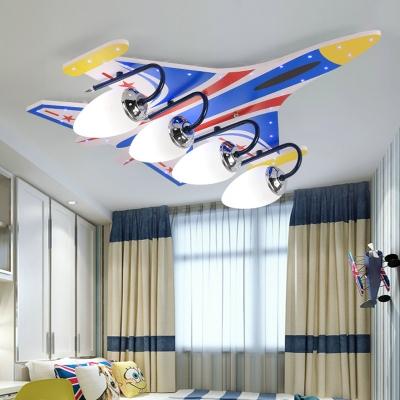 4 Lights Aircraft Flush Light Contemporary Amusement Park Metal Flush Mount in Chrome
