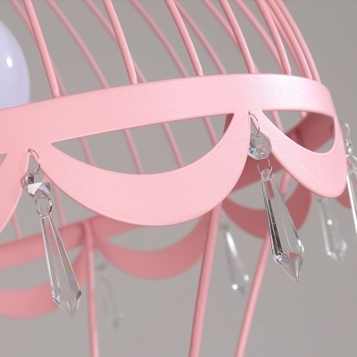 Lovely Hot Air Balloon Pendant Light with Bear Baby Kids Room Metal 1 Light Hanging Ceiling Light in Blue/Pink