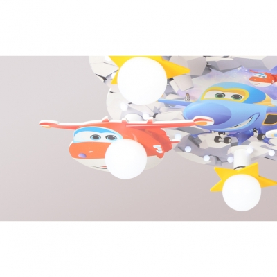 Cartoon Airplane 5 Lights Flush Mount White Finish Wooden Lighting Fixture for Boys Room