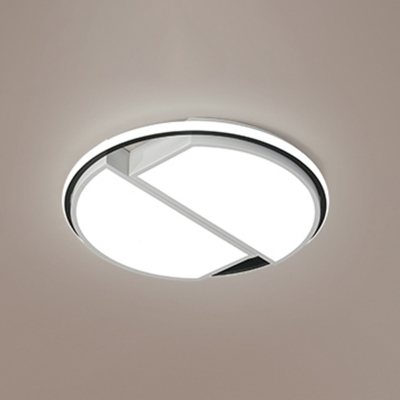 Geometric LED Flush Mount with Ring Modernism Metallic Lighting Fixture in White for Bedroom