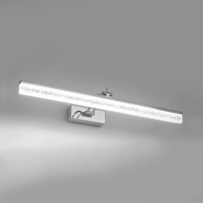 Minimalist Linear Makeup Mirror Light Rotatable Acrylic Waterproof Vanity Light in Stainless for Bathroom