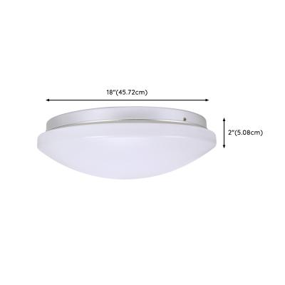Modern Bowl Shade LED Flush Light Acrylic Lampshade Ceiling Flush Mount in White for Sitting Room