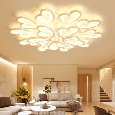 Modern Chic Wing Ceiling Lamp Acrylic 15 Lights Large LED Semi Flush Ceiling Light in White