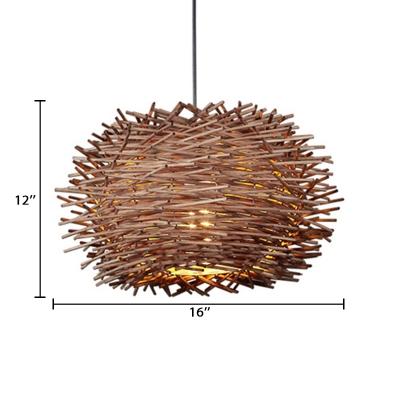 Modernism Nest Design Indoor Lighting Fixture Rattan 1 Bulb Decorative Pendant Lamp in Brown