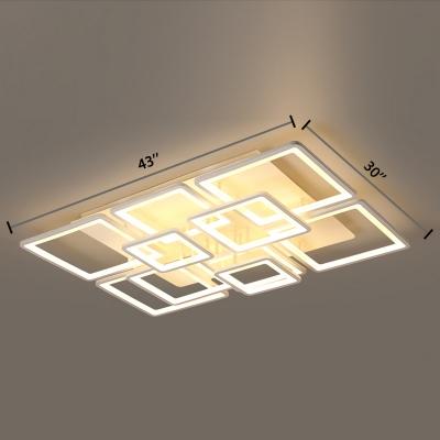 Nordic Style Ultrathin Semi Flush Mount with 4/6/8/10 Square Frame Acrylic LED Semi Flush Light