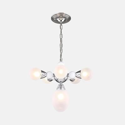 Post Modern Orb Hanging Chandelier White Glass 6 Heads Suspended Light in Chrome for Living Room