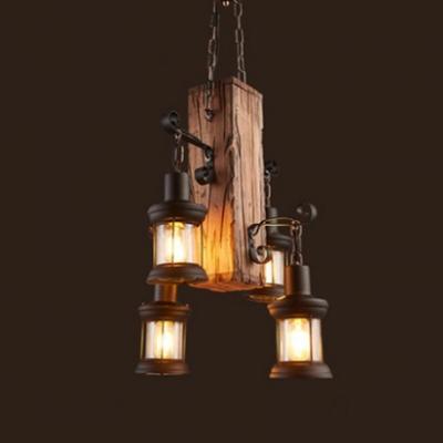 Retro Loft Style Lantern Chandelier Wooden 4 Lights Suspension Light for Coffee Shop