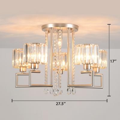 Silver Round Hanging Light Modern Design Crystal 4/6 Lights Chandelier Lamp for Sitting Room