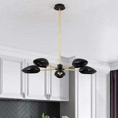 newest 74bcd e13e1 Sputnik Chandelier with Black Plastic Shade Post Modern 5 Lights