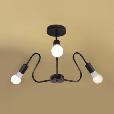 Wave Semi Flush Ceiling Light Industrial Metal 3/5 Heads Semi Flush Mount in Black Finish for Bedroom