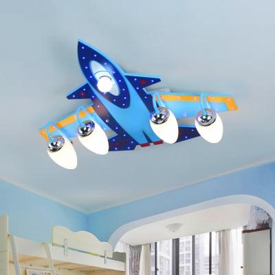 3 5 Lights Airplane Semi Flush Mount Children Bedroom Opal Gl