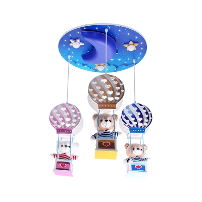 3 Lights Bear Drop Light with Hot Air Balloon Kindergarten Wooden Pendant Lamp in Multi Color