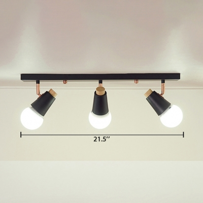 3 Lights Rotatable Arm Ceiling Fixture Modernism Metal Semi Flush Light Fixture in Black for Sitting Room