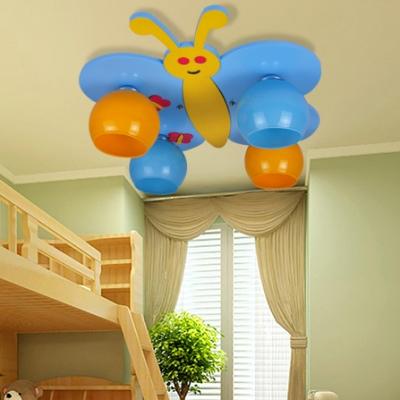 4 Lights Bee Flush Light Fixture with Globe Glass Shade Nursing Room Ceiling Light in Chrome