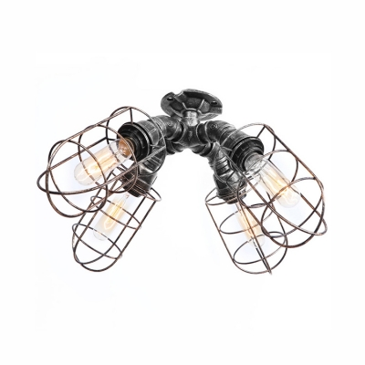 4 Lights Metal Cage Indoor Lighting Nautical Rustic Surface Mount Ceiling Light in Aged Silver/Weathered Bronze