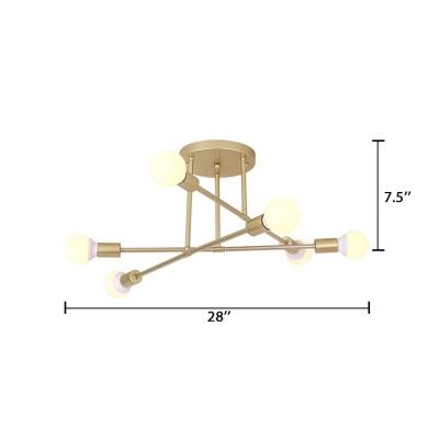 6 Lights Crossed Lines Ceiling Lamp Designer Style Metal Semi Flush Light in Gold for Hallway