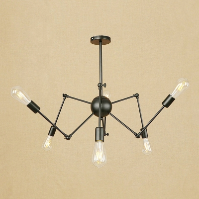 Adjustable Arm Chandelier Industrial Metal 6 Lights Hanging Lamp in Black for Sitting Room