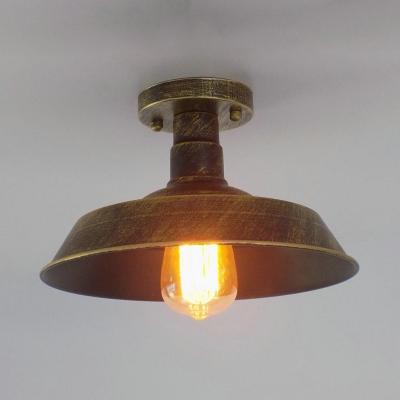 Barn Semi Flush Light Loft Style Iron 1 Bulb Lighting Fixture in Antique Brass/Antique Silver/Rust