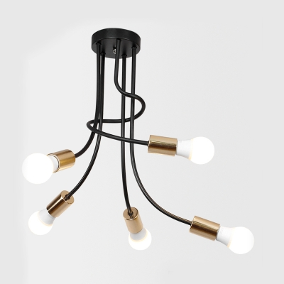 Black Curved Arm Semi Flush Mount Industrial Modern Metal 5 Bulbs Ceiling Lamp for Sitting Room