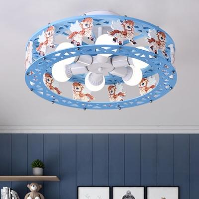 Blue/Pink Drum Semi Flush Light with Cartoon Horse Metal 6 Lights Ceiling Light for Kids