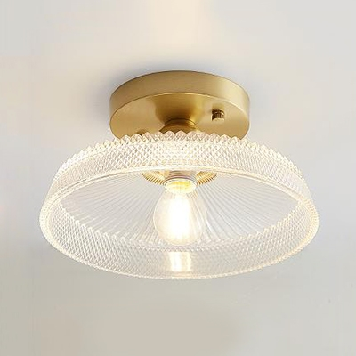 Brass Finish Textured Ceiling Light With Clear Glass Shade Vintage 1