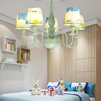 Cone 3/5 Lights Hanging Lamp with Animal Green Finish Fabric Shade Suspension Light for Kids Room