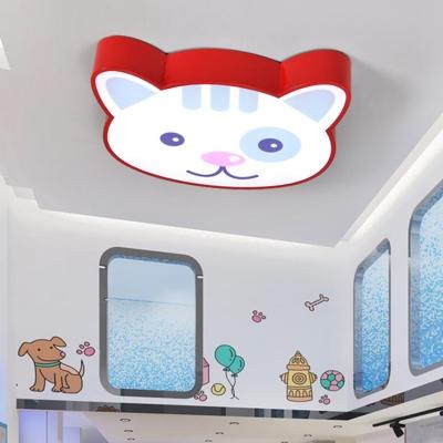 Cute Cat Pattern Ceiling Lamp Nursing Room Metallic LED Flush Light Fixture in Red