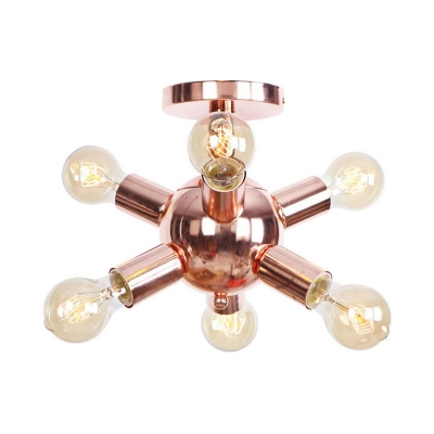 Impulse Surface Mount Light Industrial Vintage Metal Multi Light Semi Flush Mount Lighting in Rose Gold