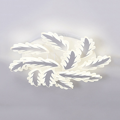 Leaves Design 2 Tiers Lighting Fixture Modernism Acrylic Home Decor LED Semi Flush Light Fixture