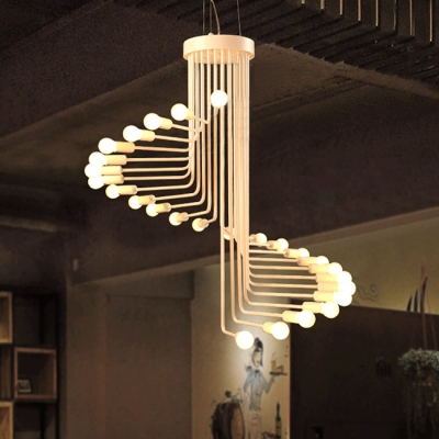 Modern Fashion Spiral Suspension Wrought Iron Multi Light Indoor Lighting Fixture in White