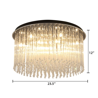 Modern Luxury Stream Ceiling Fixture with Crystal Bead Decorative LED Flush Light in Warm/White
